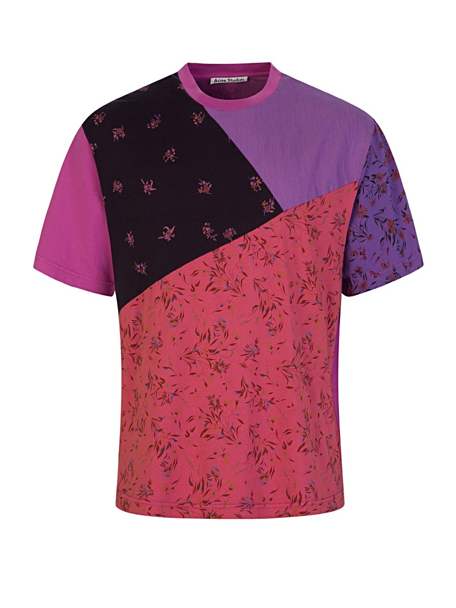 acne studios pink floral-print patchwork t-shirt - size xs