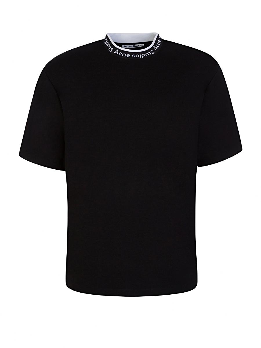 acne studios black logo collar t-shirt - size m