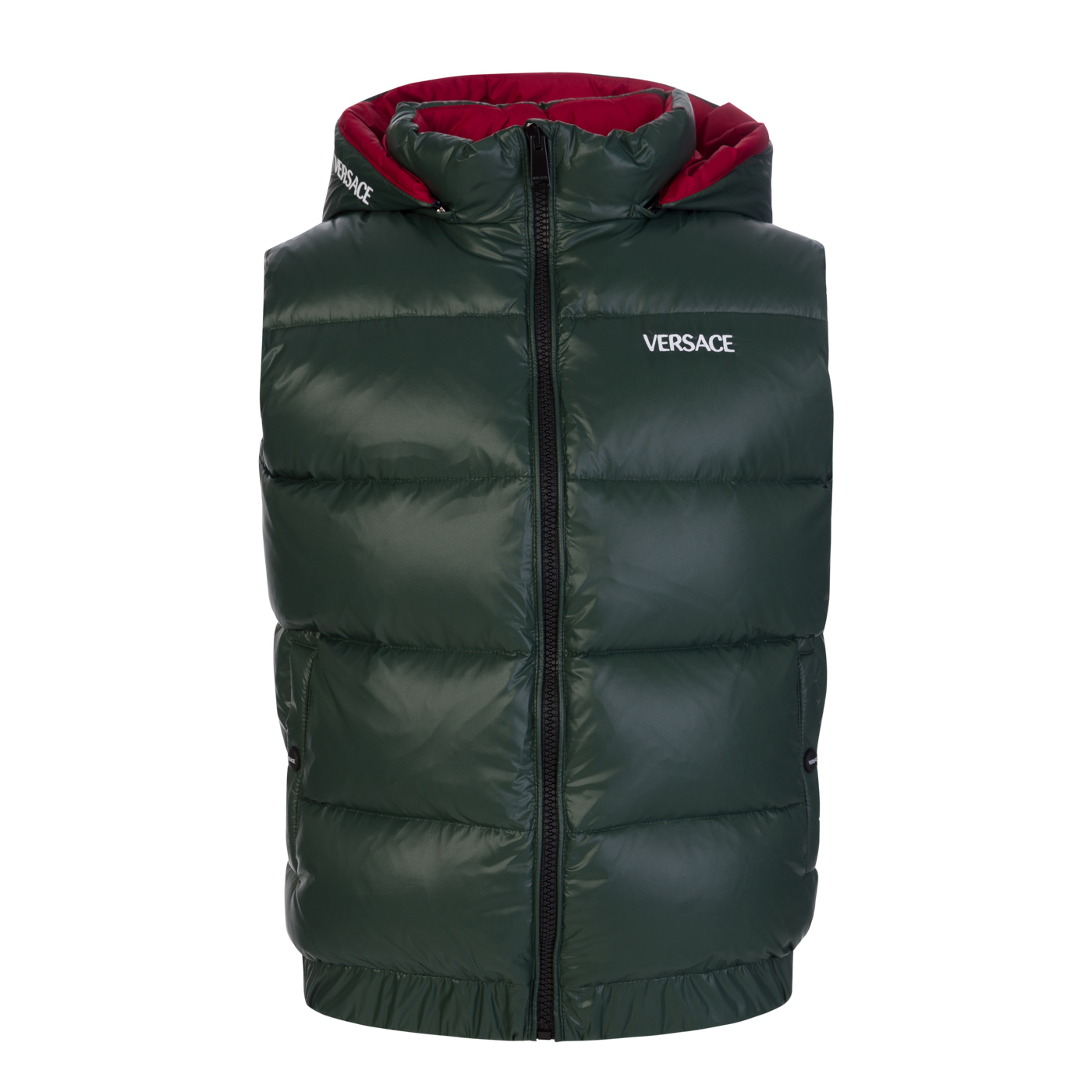 Versace Green Embroidered Logo Down Hooded Gilet - Size 10 Years