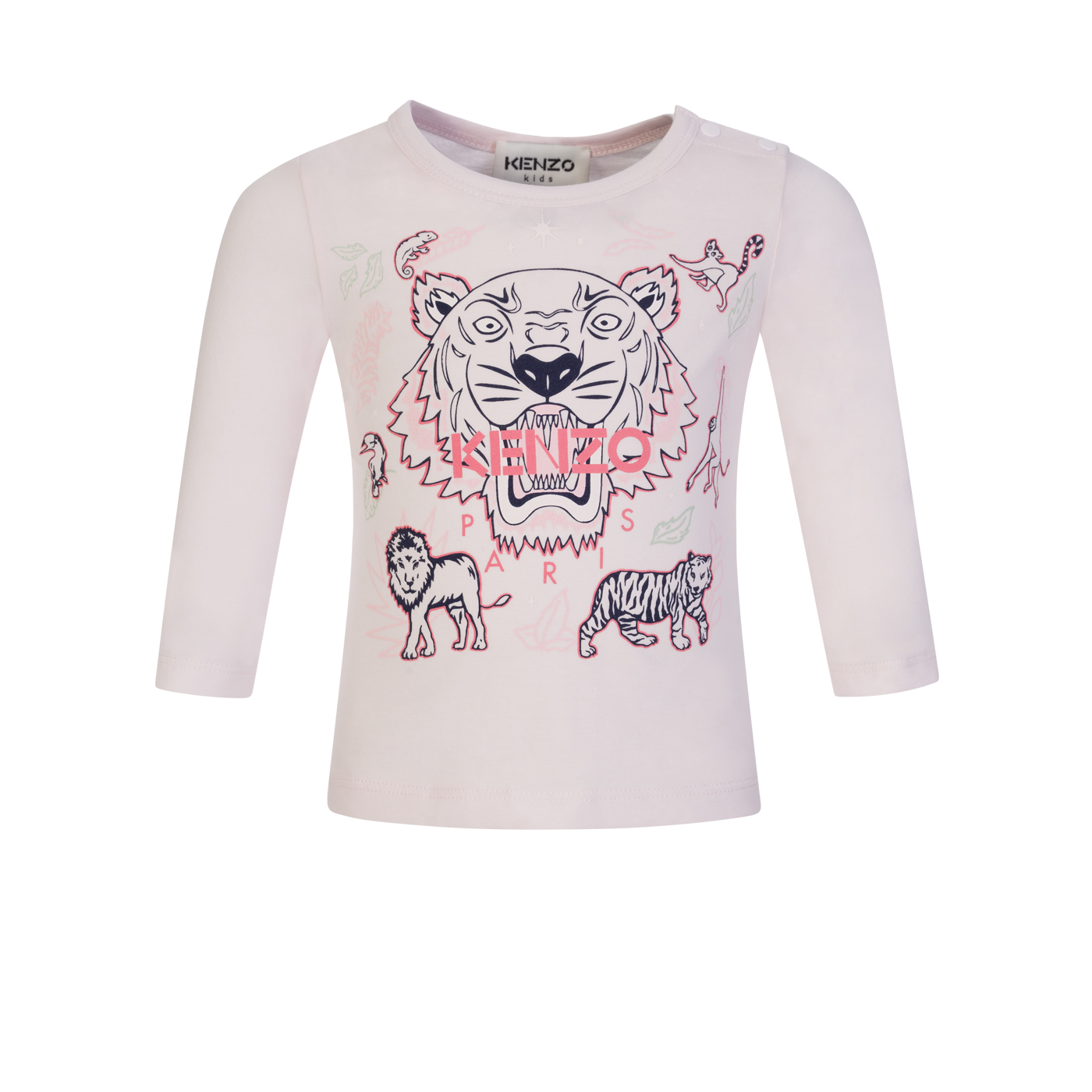 KENZO Kids Pale Pink Tiger Print T-Shirt - Size 1 Year