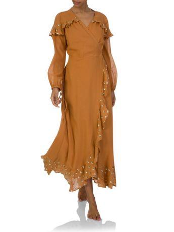 Sundress Old Bronze Embellished Sequin Wrap Dress