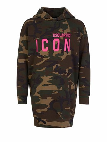 Dsquared2 Kids Green Camo-Print ICON Hooded Dress
