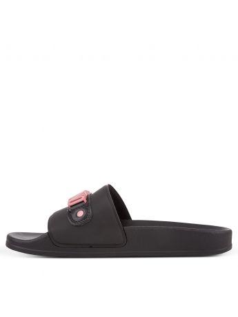 Moschino Black/Pink Logo Slides Footwear