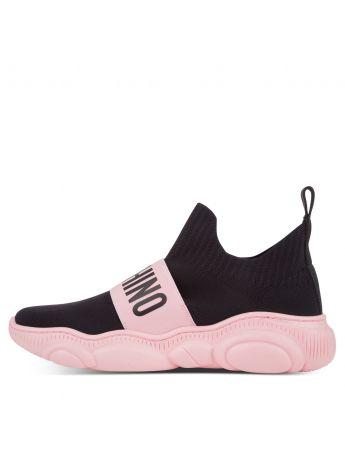 Moschino Black/Pink Logo Sock Trainers
