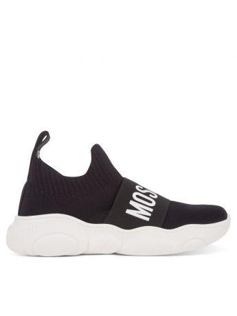 Moschino Kids Black/White Low-Top Sock Logo Trainers