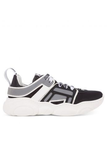 Moschino Kids Black/White/Grey Running Trainers