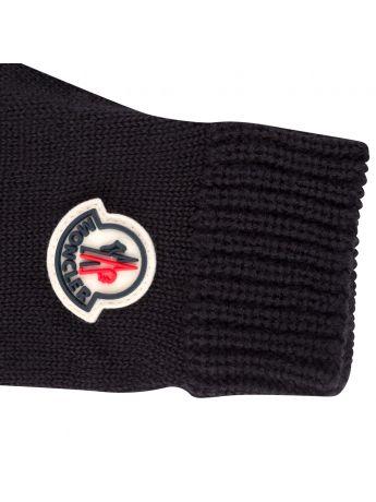 Moncler Enfant Black Logo Gloves