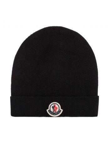 Moncler Enfant Black Logo Beanie Hat