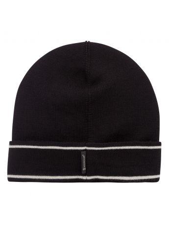 Moncler Enfant Black Wool Logo Beanie Hat