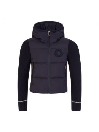 Moncler Enfant Navy Knitted Zip-Through Jacket