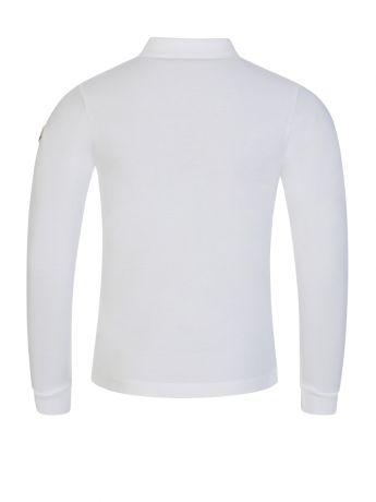Moncler Enfant White Long-Sleeve Tipped Collar Polo Shirt