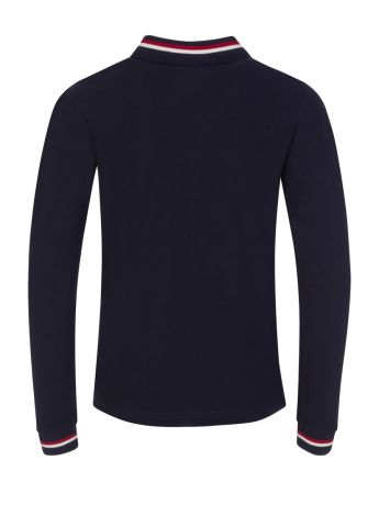 Moncler Enfant Navy Long-Sleeve Tipped Collar Polo Shirt
