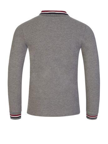 Moncler Enfant Grey Long-Sleeve Tipped Collar Polo Shirt