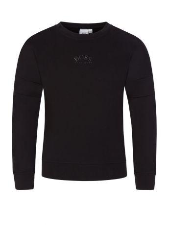 BOSS Kidswear Black Tonal Logo Sweatshirt