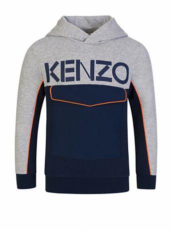 KENZO Kids Grey Colour-Block Pocket Hoodie