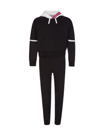 Moncler Enfant Black/White/Neon Pink Cotton Tracksuit
