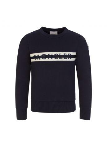 Moncler Enfant Navy Stripe Logo Sweatshirt