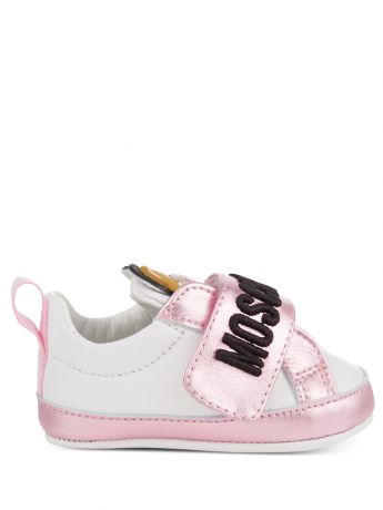 Moschino Kids White/Pink Leather Teddy Logo Trainers