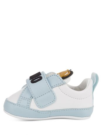 Moschino Kids White/Blue Leather Teddy Logo Trainers