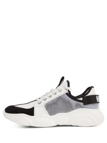 Moschino Kids White Calfskin/Mesh Teddy Fluo Trainers