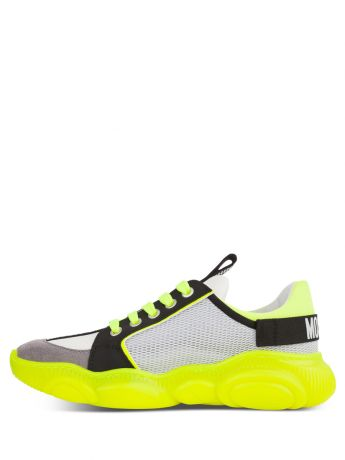 Moschino Kids White/Yellow Calfskin/Mesh Teddy Fluo Trainers