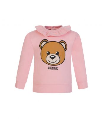 Moschino Kids Pink Bear Frill Sweatshirt