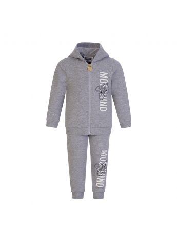 Moschino Kids Grey Logo Hooded Baby Tracksuit