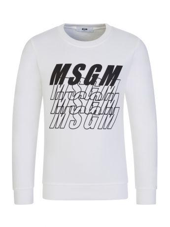 MSGM Kids White Multi-Logo Sweatshirt