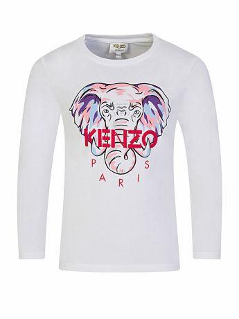 KENZO Kids White 'Disco Jungle' Elephant Logo T-Shirt