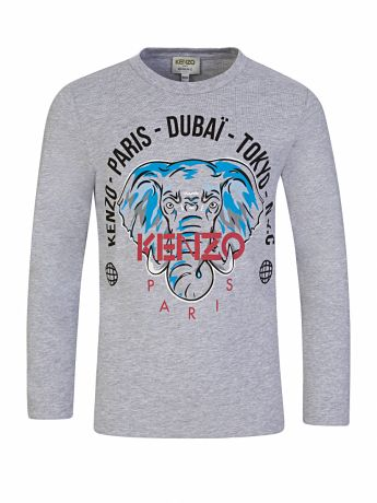 KENZO Kids Grey Long-Sleeve 'Disco Jungle' Elephant Logo T-Shirt