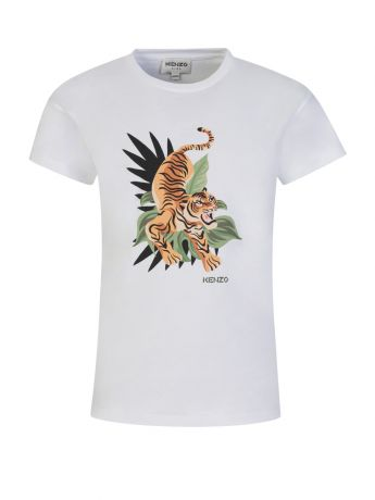 KENZO Kids White Island Tiger Print T-Shirt
