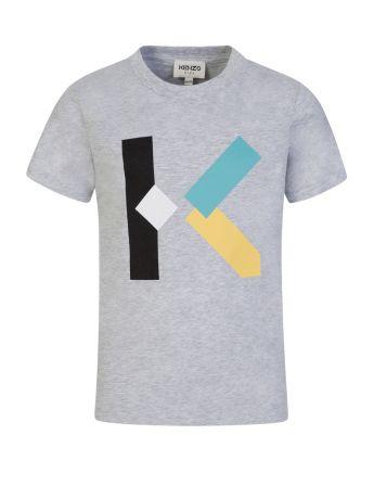 KENZO Kids Grey 'K' Logo Print T-Shirt