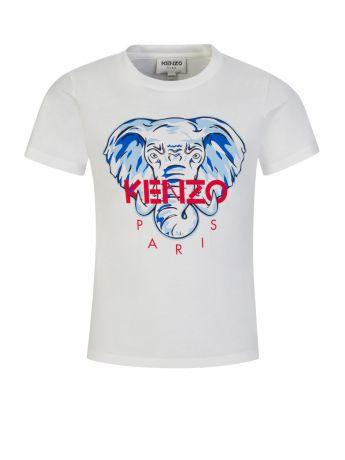 KENZO Kids White/Red Elephant Logo T-Shirt