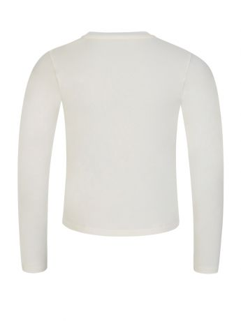 Moncler Enfant Ivory Long-Sleeve Logo T-Shirt