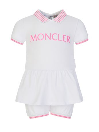 Moncler Enfant White Baby Dress and Shorts Set
