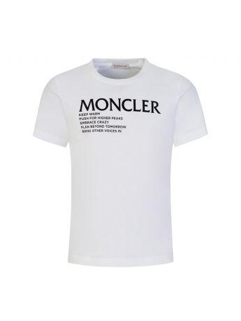 Moncler Enfant White 'Words of Wisdom' Logo T-Shirt