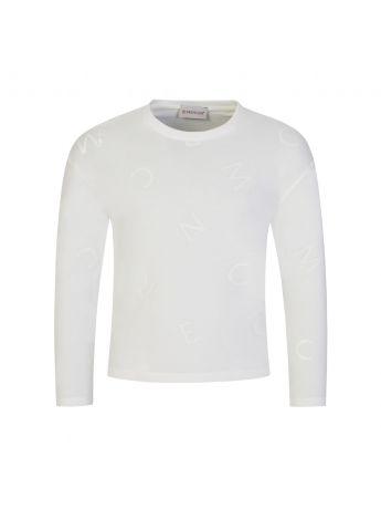 Moncler Enfant Cream Long-Sleeve Scrambled Letters T-Shirt