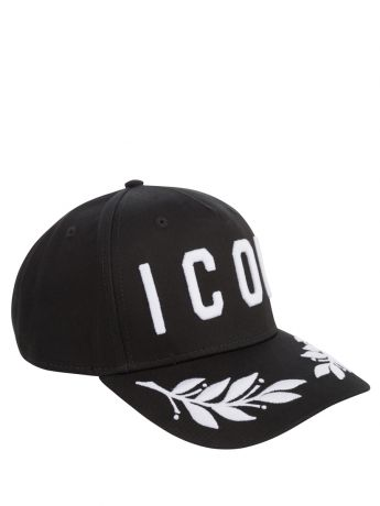 Dsquared2 Black/White Embroidered Leaves ICON Cap
