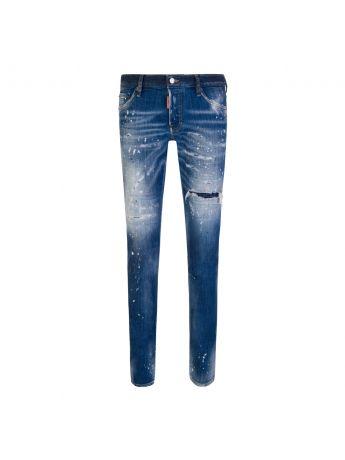 Dsquared2 Blue Paint Splatter Slim Jeans