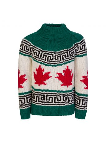 Dsquared2 Green/White/Red Wool-Blend Maple Leaf Knit Jumper