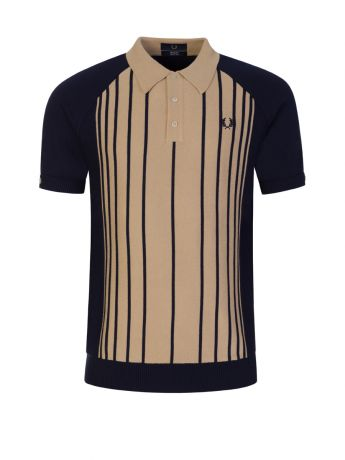 Fred Perry Navy/Beige Knitted Stripe Polo Shirt