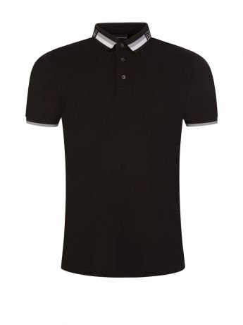 Emporio Armani Black Logo Tipped Polo Shirt