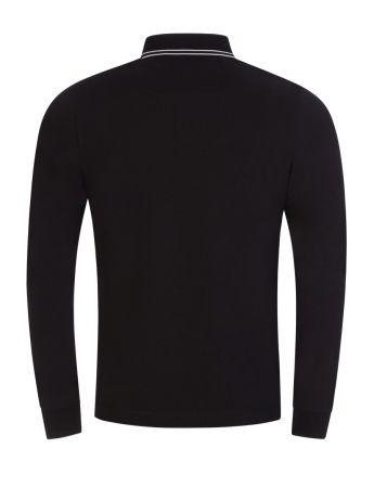 Stone Island Black Long Sleeve Tipped Polo Shirt