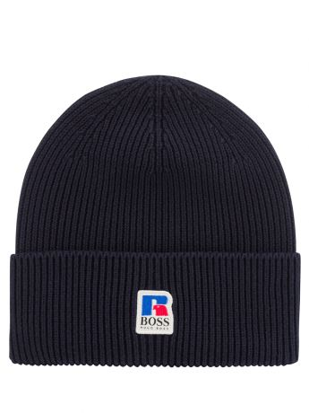 BOSS x Russell Athletic Dark Blue Fussell Beanie Hat