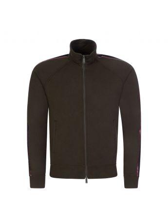Dsquared2 Dark Green Stripe-Line Zip-Through Sweatshirt