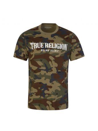 True Religion Green Camo-Print Arch Logo T-Shirt