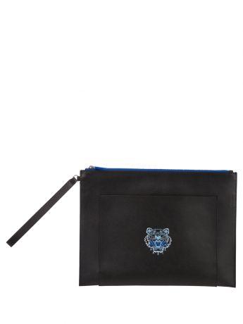 KENZO Black Large Leather Ekusson Tiger Pouch Bag