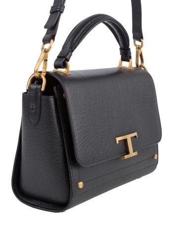 Tod's Black Leather T Timeless Crossbody Bag