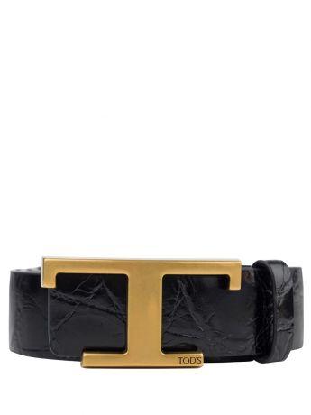 Tod's Black Leather T Buckle Belt