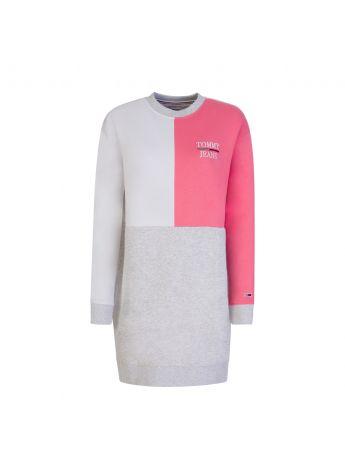 Tommy Jeans Grey Colour Block Logo Dress